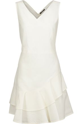 RAOUL Fleur ruffled cotton-blend matelassé mini dress