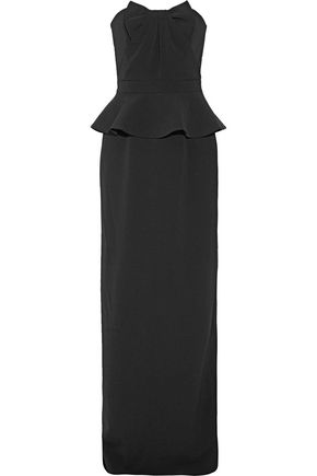RAOUL Tulip bow-embellished pleated washed-crepe gown