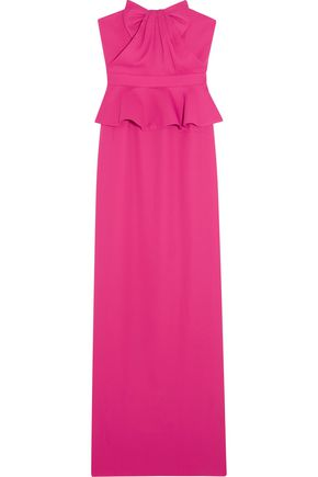 RAOUL Tulip bow-embellished pleated crepe gown