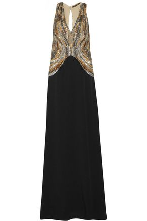 ROBERTO CAVALLI Cutout bead and sequin-embellished tulle and crepe gown
