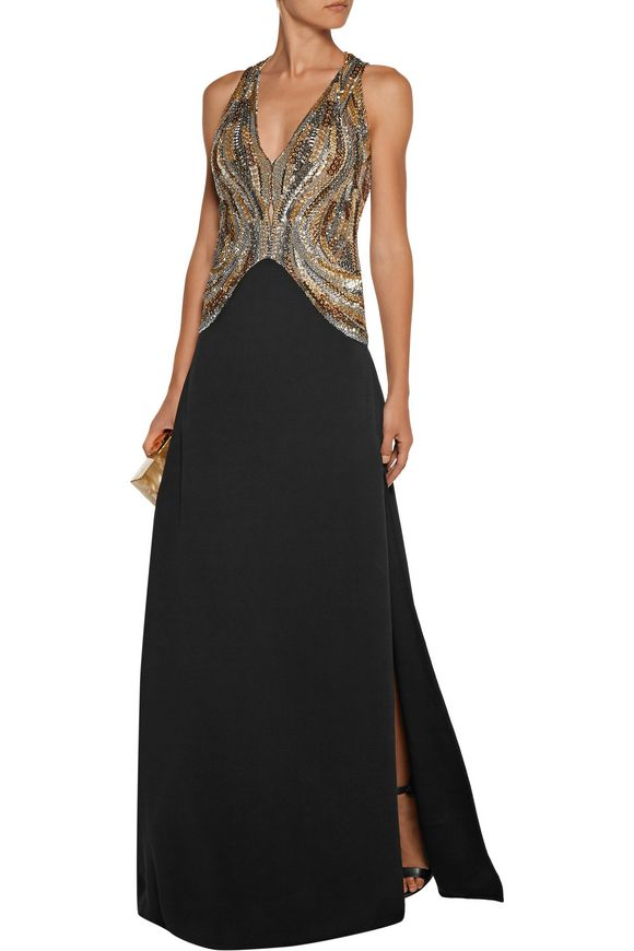 Cutout bead and sequin-embellished tulle and crepe gown | ROBERTO CAVALLI | Sale  up to 70% off | THE OUTNET