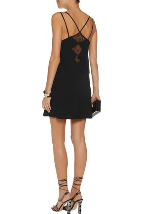 ALICE + OLIVIA Emy corded lace-paneled silk-blend crepe mini dress