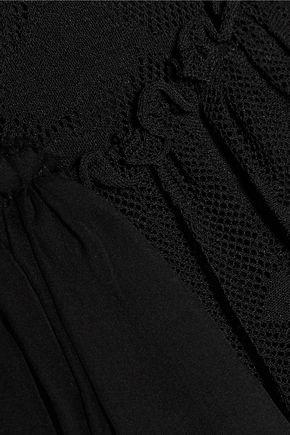 ROBERTO CAVALLI Ruffled one-shoulder open-knit mini dress