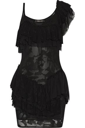 ROBERTO CAVALLI Ruffled one-shoulder open-knit mini dress