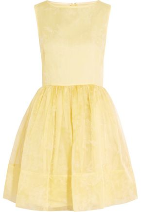 REDValentino Pleated embroidered silk-organza dress