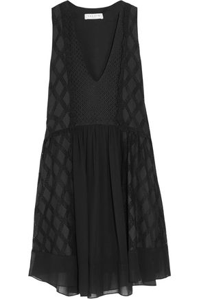 SANDRO Reem paneled crepe mini dress