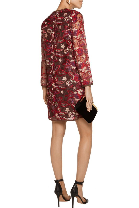 Embroidered organza mini dress | JUST CAVALLI | Sale up to 70% off | THE  OUTNET