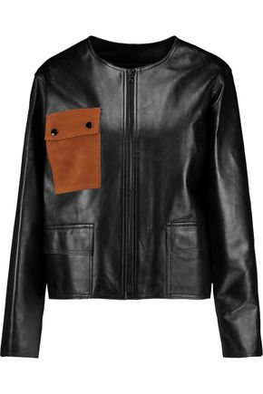 SANDRO Virgil suede-paneled leather jacket