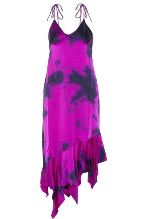 MARQUES ALMEIDA Tie-dyed asymmetric silk-satin midi dress