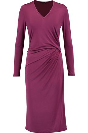 RAOUL Gathered stretch-satin dress