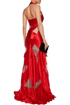 MOSCHINO Tulle-paneled silk-satin halterneck gown