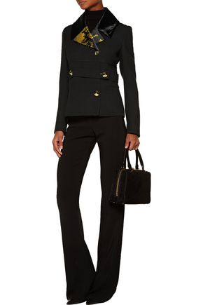 ROBERTO CAVALLI Printed satin and velvet-trimmed wool-crepe jacket