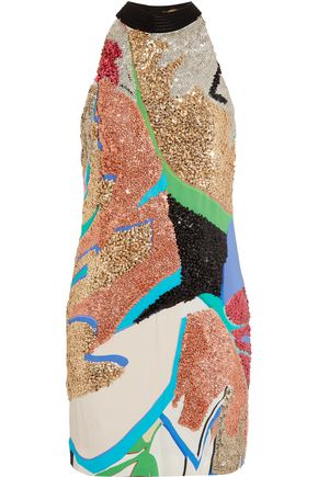 ROBERTO CAVALLI Embellished crepe de chine mini dress