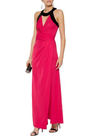 HALSTON HERITAGE Velvet-trimmed cutout twill gown