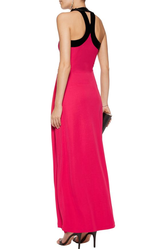 Velvet-trimmed cutout twill gown | HALSTON HERITAGE | Sale up to 70% off |  THE OUTNET