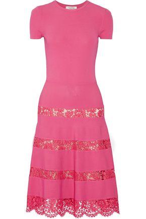 VALENTINO Lace-paneled jersey dress