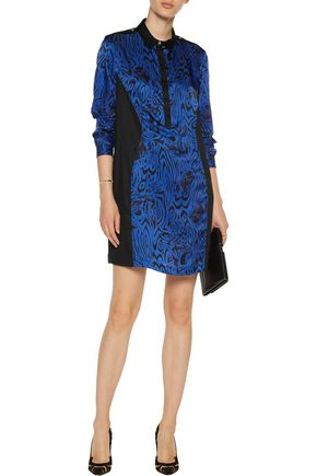 VERSACE JEANS Printed silk and jersey mini dress