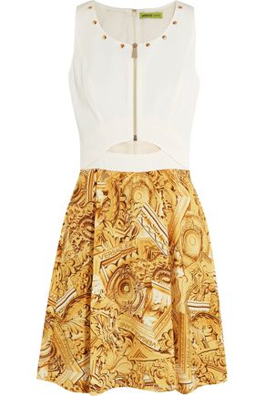 VERSACE JEANS Cutout printed crepe mini dress