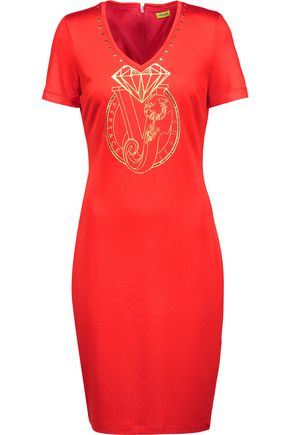 VERSACE JEANS Embellished printed stretch-knit mini dress
