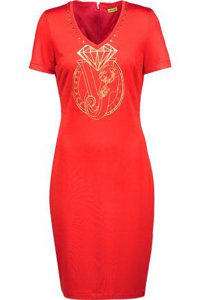 VERSACE JEANS Embellished printed stretch-knit mini dress
