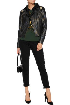VERSACE JEANS Jersey-paneled printed faux leather jacket