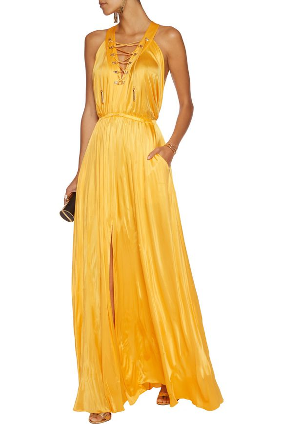 Lace-up satin-jersey gown | VERSACE COLLECTION | Sale up to 70% off | THE  OUTNET