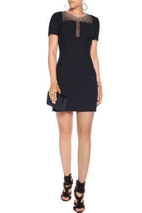 VERSACE COLLECTION Crystal-embellished twill mini dress