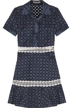 ALEXIS Jeremy polka-dot broderie anglaise twill mini dress