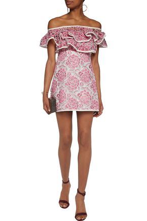 ALEXIS Paula off-the-shoulder embroidered lace mini dress