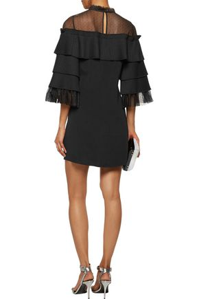 eb4e215253d4 Pierre tulle-paneled pleated crepe mini dress | ALEXIS | Sale up to ...