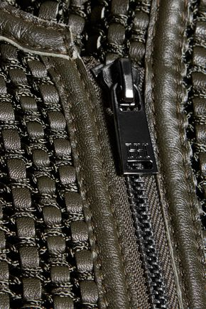 HAUTE HIPPIE Woven leather biker jacket