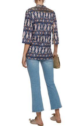FIGUE Jasmine sequin-embellished printed cotton-broadcloth tunic