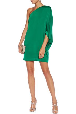 HALSTON HERITAGE One-shoulder satin mini dress