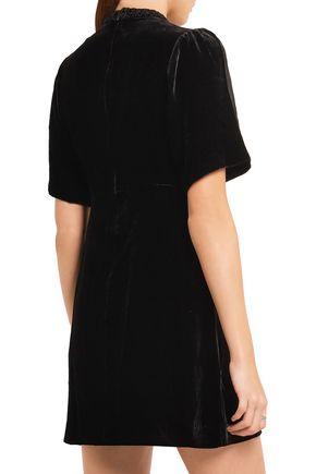 MAJE Shirred velvet mini dress