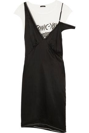 R13 Layered silk-satin and cotton-blend jersey dress