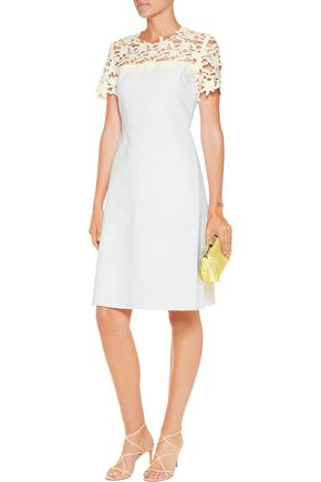 RAOUL Clementine lace-paneled cotton-blend mini dress
