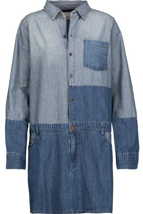 CURRENT/ELLIOTT The Whitney patchwork denim mini dress