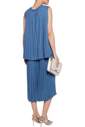 ADAM LIPPES Asymmetric pleated georgette and merino wool midi dress