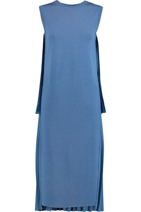 ADAM LIPPES Asymmetric pleated georgette and merino wool midi dress