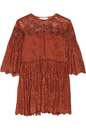 ZIMMERMANN Pleated broderie anglaise silk top