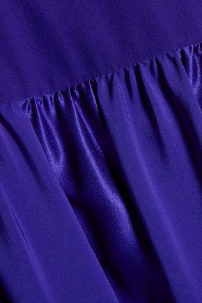 ROBERTO CAVALLI Pussy-bow silk-blend satin and chiffon dress
