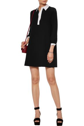 ALICE + OLIVIA Fatima silk-trimmed two-tone crepe mini dress