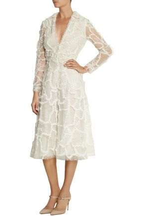VALENTINO Patchwork lace, tulle and point d'esprit midi dress