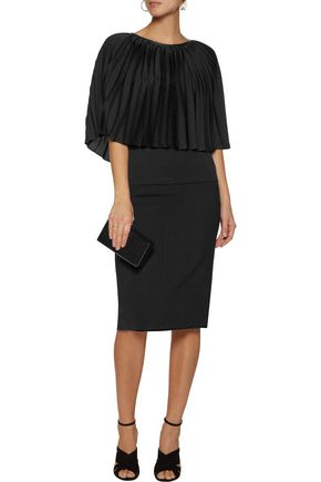 HALSTON HERITAGE Leather-trimmed pleated voile and stretch-jersey top