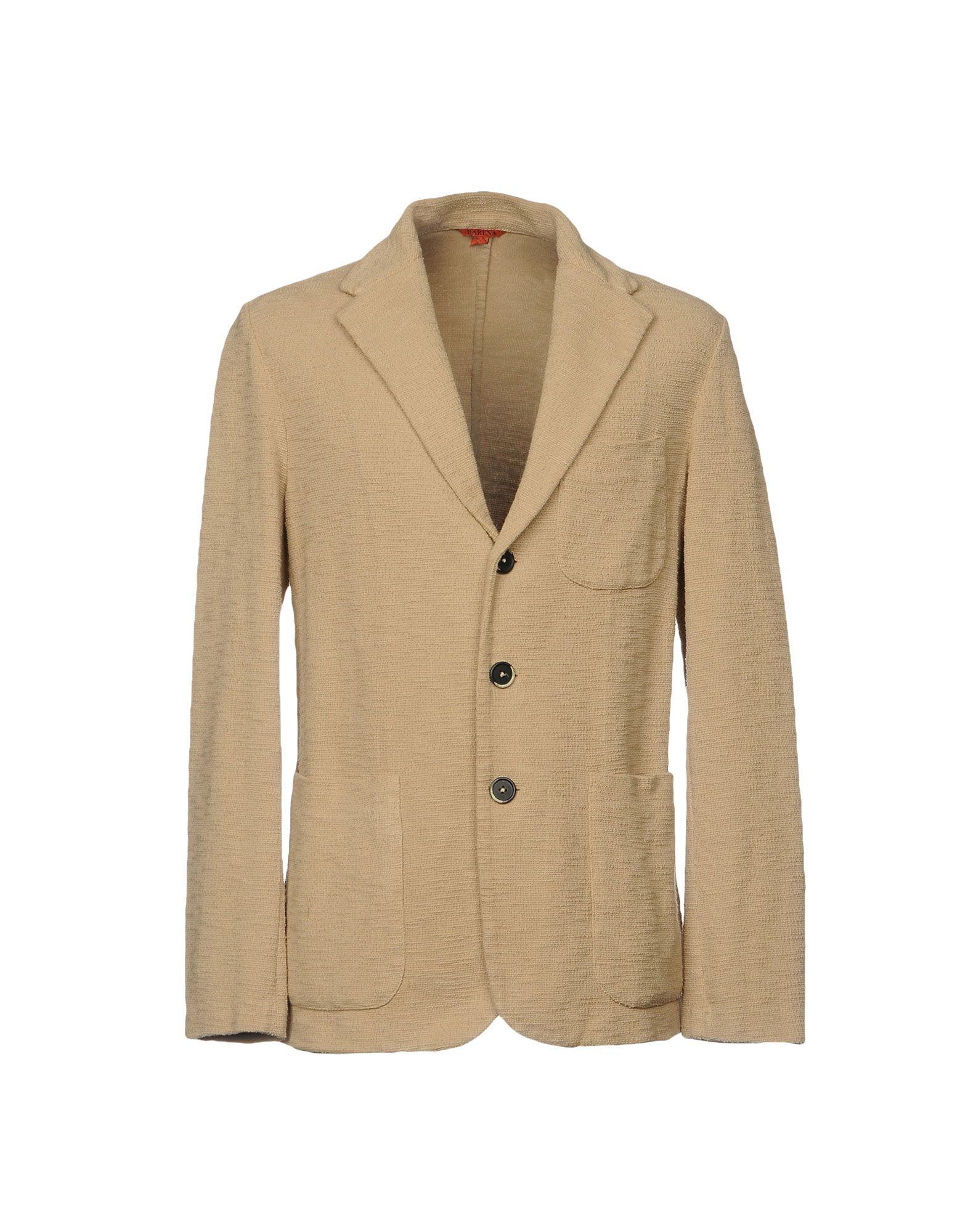 《セール開催中》BARENA メンズ テーラードジャケット サンド 50 コットン 100%
