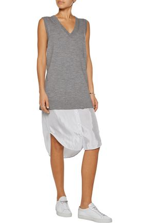 T by ALEXANDER WANG Satin trimmed merino wool dress