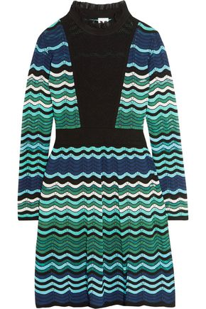 M MISSONI Paneled crochet-knit dress