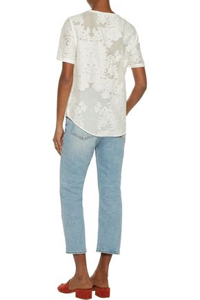 EQUIPMENT Riley embroidered cotton and silk-blend top