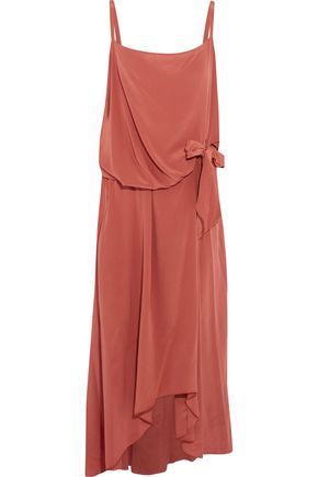 ROCHAS Draped tie-front washed-silk midi dress