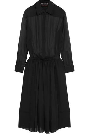 ROCHAS Ruffle-trimmed silk-chiffon midi dress